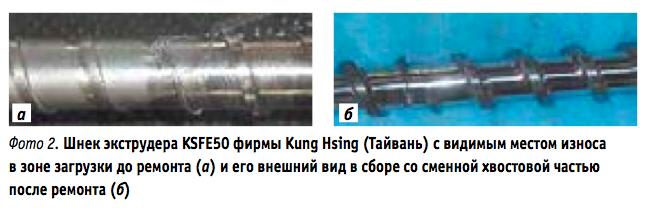 Капитальный ремонт шнековой пары экструдеров
